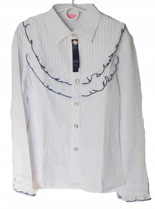 Bluzka koszulowa koszula dziewcz dł ręk biała 128 8617499530 Dziecięce Odzież EE NLDAEE-7