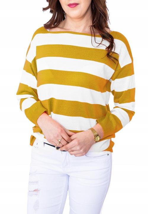 Lekki cienki sweter damski w pasy KOLORY uni 8029415747 Odzież Damska Swetry RQ ZZKVRQ-9