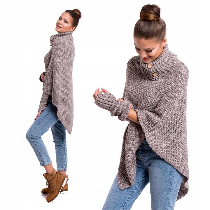 FELICIA_MIĘSISTE PONCHO ROZPINANY GOLF RĘKAWKI 8355015731 Odzież Damska Swetry UL XTHJUL-9