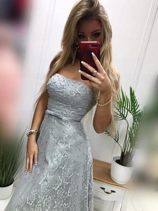 Jacky ECRU GORSETOWA SUKIENKA SYLWESTRA ślub L 9810929137 Odzież Damska Sukienki wieczorowe KJ VXUUKJ-7
