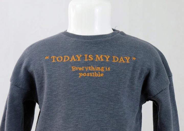 ZARA bluzeczka dżersej prążkowany napis 110 9502800307 Dziecięce Odzież QS GIJHQS-9