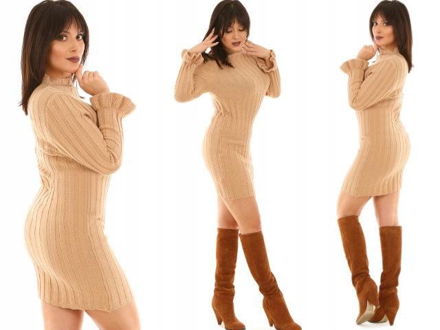 F492 PÓłgolf modna sweterkowa SUKIENKA sweter 8522989895 Odzież Damska Swetry PK FSYRPK-4