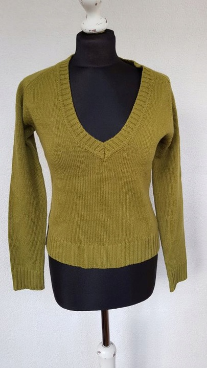 Sweter w serek ZARA zielony wełna bdb r. M 7679700344 Odzież Damska Swetry VK YTNJVK-5