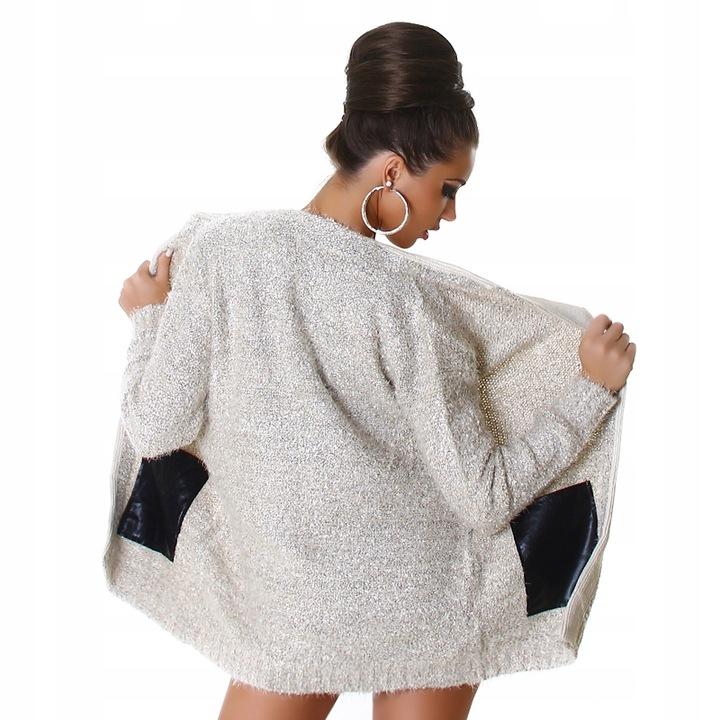 SWETER Z DUŻYMI KIESZENIAMI ELEGANCKI KARDIGAN ES 9785640101 Odzież Damska Swetry TI JEYNTI-2