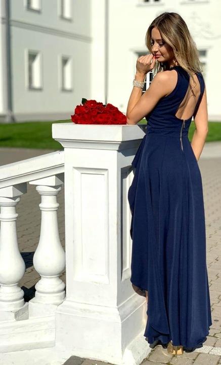DŁUGA SUKIENKA odkryte plecy ASYMETRYCZNA WESELE 8652125258 Odzież Damska Sukienki wieczorowe AK YBDKAK-4
