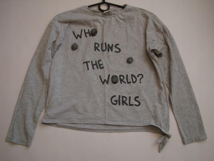 ŚWIETNA szara bluzka bluza napisy ZARA r.152 9162567005 Dziecięce Odzież JV OXHPJV-2