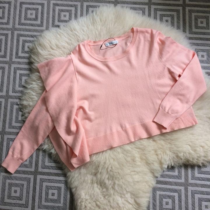 ZARA sweter brzoskwiniowy krÓtki falbany rÓżowy M 8272584920 Odzież Damska Swetry LK VJBTLK-7