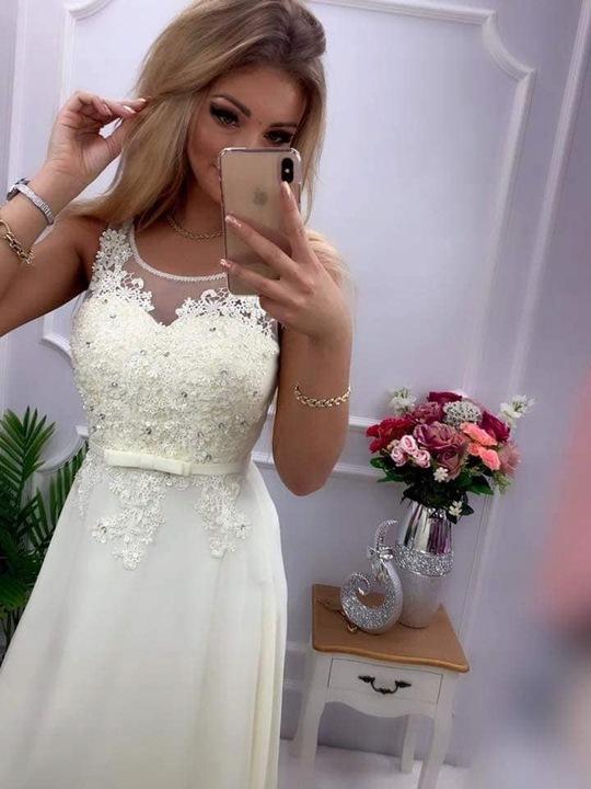 Malwa ECRU SUKIENKA ślub wesele druhny 2XL 9435461177 Odzież Damska Sukienki wieczorowe SY SJUHSY-8