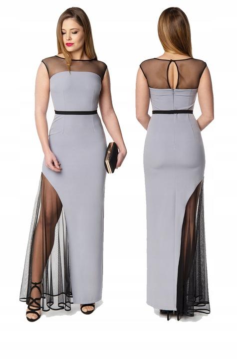 CAMILL 020 długa popielata suknia wieczorowa 38 8525725734 Odzież Damska Sukienki wieczorowe QW MPVEQW-8