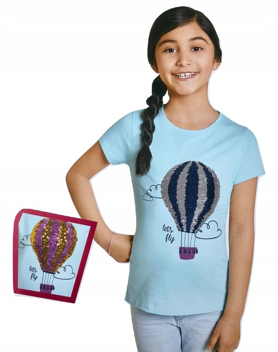 BALON bluzka tshirt koszulka CEKINY 3D *110-116 9084843046 Dziecięce Odzież VB QDGZVB-1