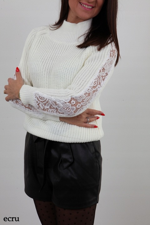 MODNY SWETEREK PÓŁGOLF KORONKOWE RĘKAWY KOLORY 8648278637 Odzież Damska Swetry QC RXATQC-2
