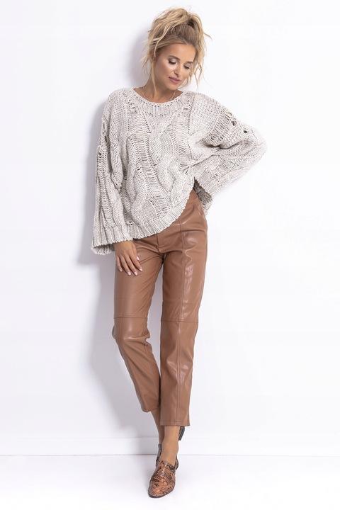 Sweter GRUBY KOBIECY CIEPŁY Wełna OVERSIZE Beż S/M 8680867240 Odzież Damska Swetry IN ZJDJIN-4