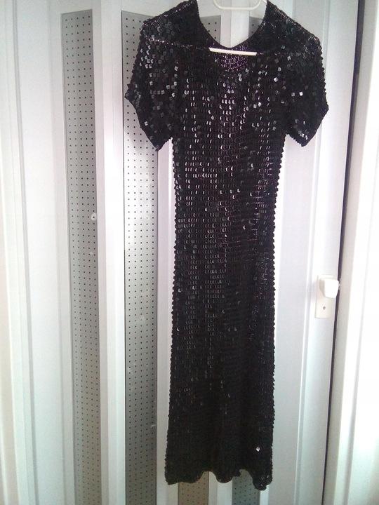 suknia czarne cekiny piękna sylwestra bal wesele 9222574113 Odzież Damska Sukienki wieczorowe YS YMXUYS-8