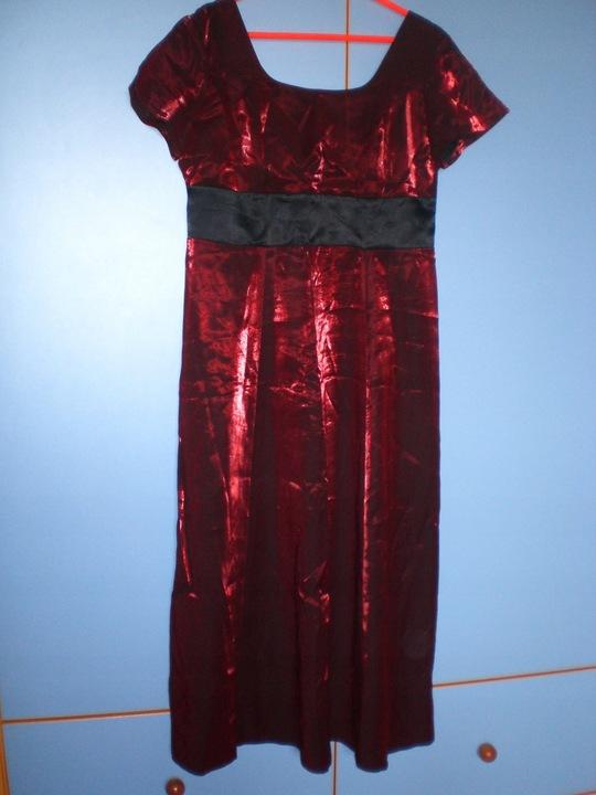 ATŁASOWA BORDOWA WIECZOROWA SUKIENKA WESELE R. 42 8252365339 Odzież Damska Sukienki wieczorowe NO NPJCNO-9