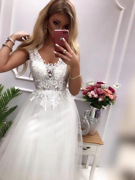 Lotos WRZOSOWA DŁUGA SUKIENKA z GIPIURĄ ślub XL 9713663192 Odzież Damska Sukienki wieczorowe CJ MTCZCJ-4