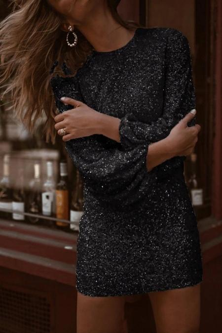 Cekinowa sukienka koktajlowa wieczorowa CZARNA XL 8735999726 Odzież Damska Sukienki wieczorowe UT NSTJUT-4
