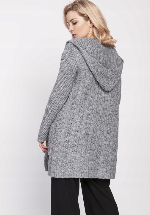 warkoczowy KARDIGAN elegancki z KIESZENIAMI 42 XL 8534466191 Odzież Damska Swetry YB KOKUYB-8
