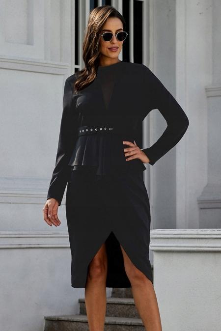 Koktajlowa sukienka z baskinką siateczka 241 TU 44 8736021402 Odzież Damska Sukienki wieczorowe DO ILUQDO-1