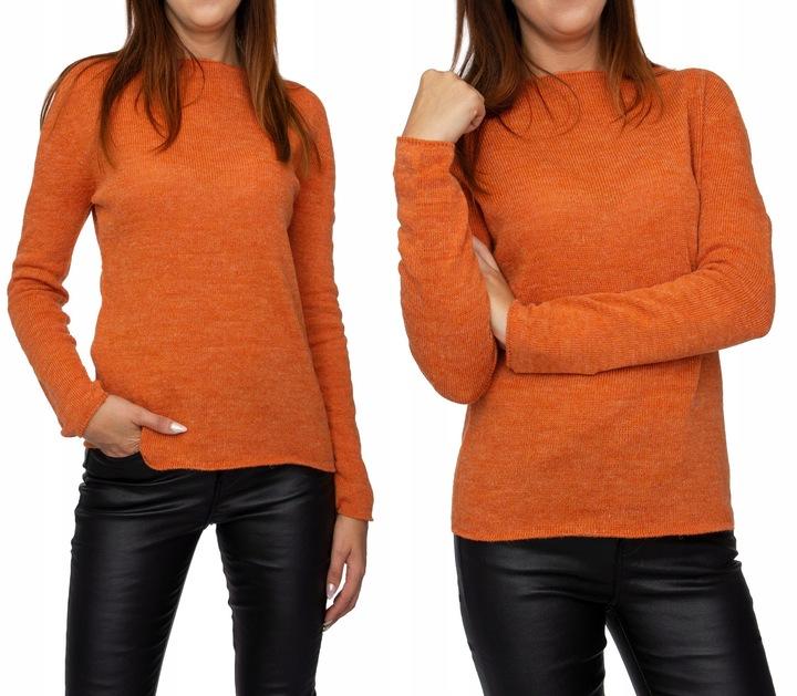 SUBTELNY KOBIECY SWETEREK DEKOLT ŁÓDKA z WEŁNĄ 8748759628 Odzież Damska Swetry AT WJTTAT-7