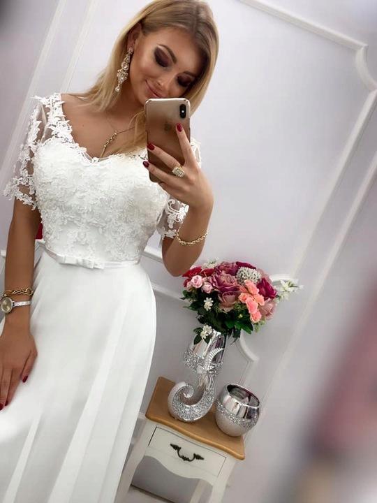 SHARON BIAŁA DŁUGA SUKNIA ślub 6XL 9573132143 Odzież Damska Sukienki wieczorowe NT JRUJNT-7