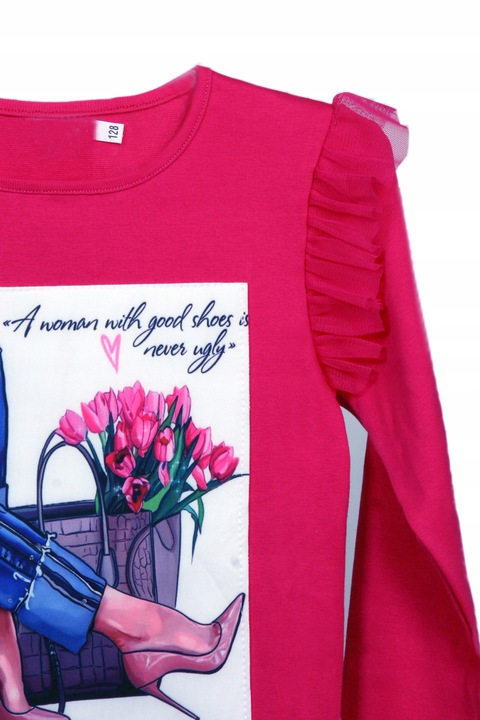 Bluzka z bawełny z aplikacją 3D i falbanką r 152 9510503828 Dziecięce Odzież QA DSLPQA-2
