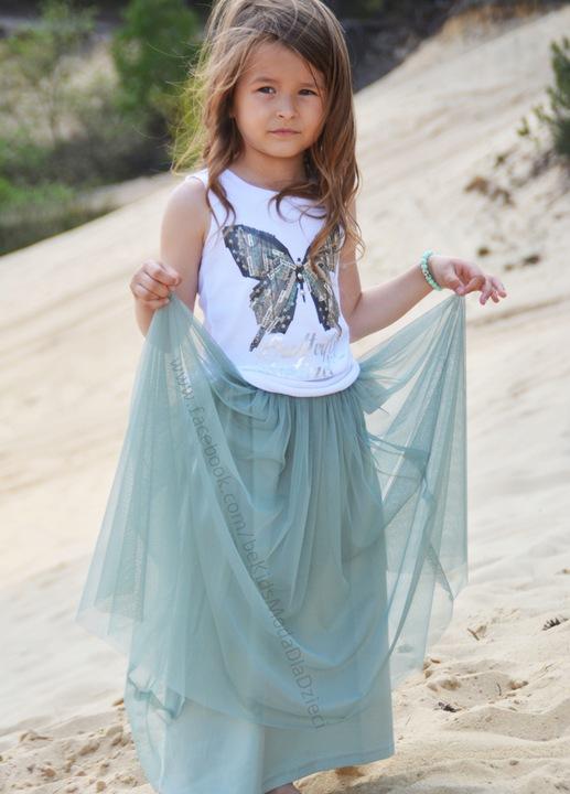 MałaMi bluzka biała motyl 134/140 8126003392 Dziecięce Odzież LF JWHCLF-7