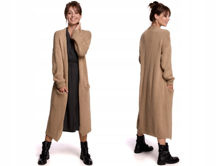 ciepły KARDIGAN długi SWETER z KIESZENIAMI 9751642490 Odzież Damska Swetry UI VJNPUI-8