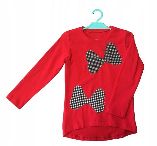 Koszulka dziewczęca czerwona kokardy Aipi 110 9434417500 Dziecięce Odzież LY SWESLY-5