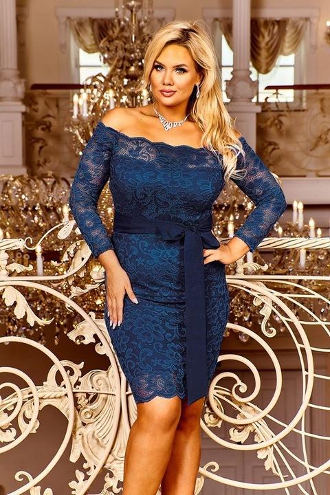 Granatowa sukienka koronkowa hiszpanka wesele 52 9737815918 Odzież Damska Sukienki wieczorowe ER YKWTER-6