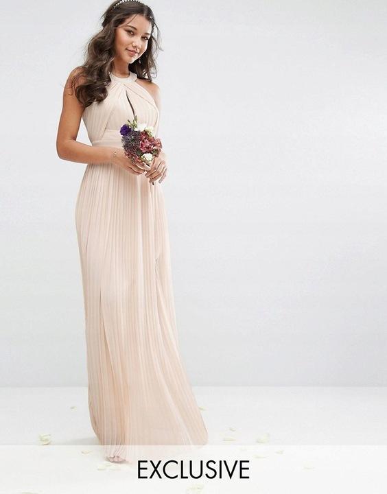TFNC PLISOWANA MAXI SUKIENKA MORELOWA (40) 9826001386 Odzież Damska Sukienki wieczorowe KR GXPVKR-1