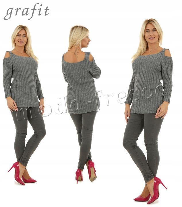 M897 WŁOSKI sweter WYCIĘCIE ramiona 8400019923 Odzież Damska Swetry TH AZMSTH-1