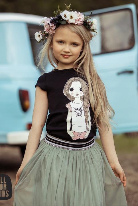 Bluzka dziewczęca czarna All for kids 140-146 9313535432 Dziecięce Odzież TX LARYTX-3
