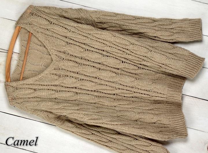 W1 CIEPŁY SWETER PLECIONY WARKOCZ DEKOLT V 9757690682 Odzież Damska Swetry PV UGSLPV-9