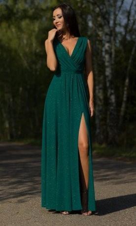 DŁUGA SUKIENKA ELIZA BROKAT PLUS SIZE ZIELONA XXL 9733925136 Odzież Damska Sukienki wieczorowe GQ RXZFGQ-3