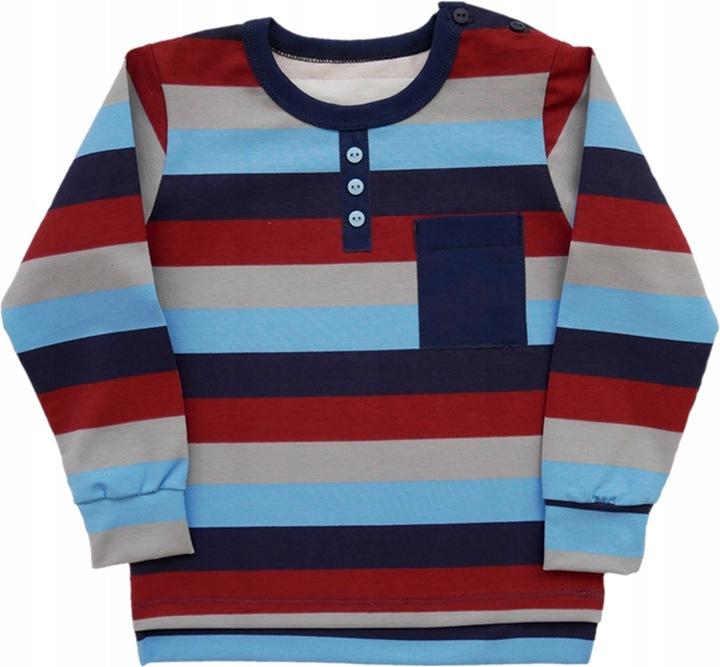 Bluzka w paski z kieszonką bawełna AIPI 122 9823330934 Dziecięce Odzież PS BKDYPS-6
