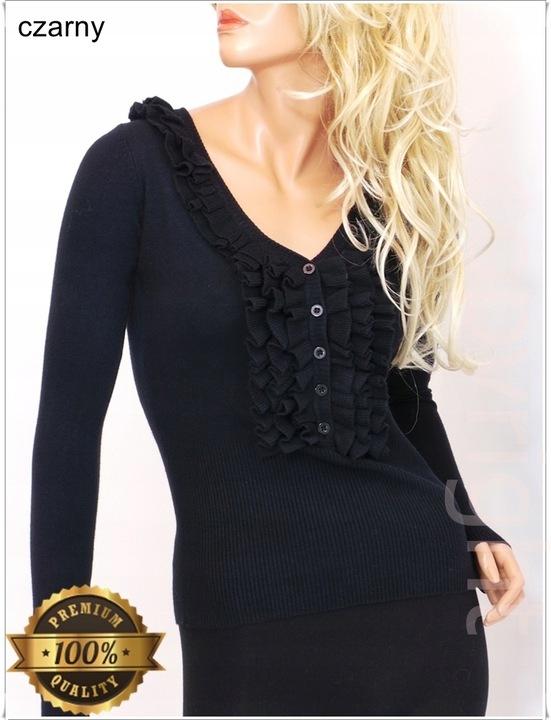 GŁADKI elegancki SWETER z ŻABOTEM guziki 982# 9631321000 Odzież Damska Swetry FQ WXYFFQ-4