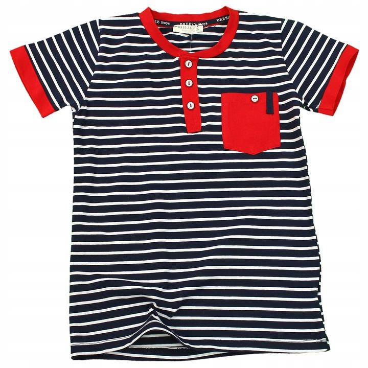 T-SHIRT Bluzka PASKI Kieszonka GUZICZKI Granat 140 9367668427 Dziecięce Odzież YC IGPJYC-6