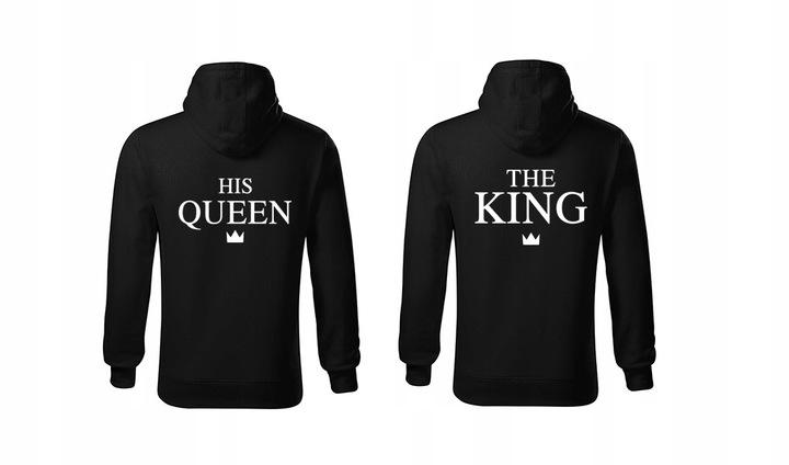 BLUZY DLA PAR THE KING HIS QUEEN PREZENT KOMPLET 8283143216 Odzież Męska Bluzy AB FJMGAB-1