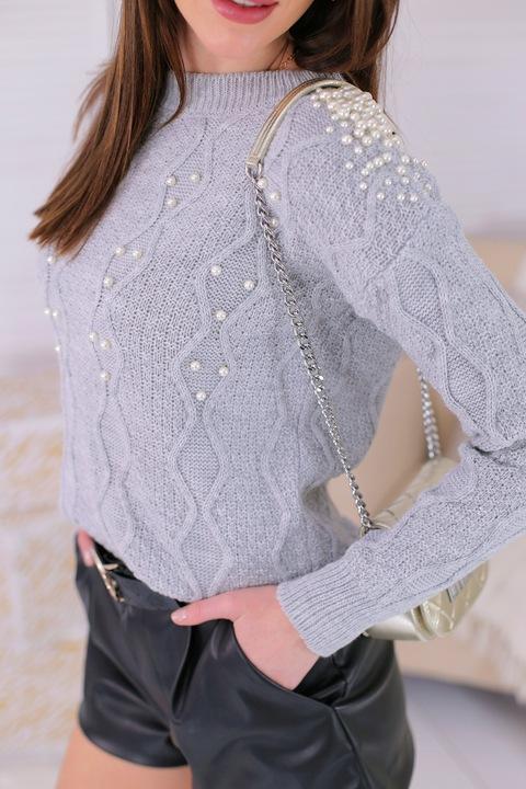 Sweter Bluzka z perłami ażurowy splot szary 9769954699 Odzież Damska Swetry YF RTTZYF-3