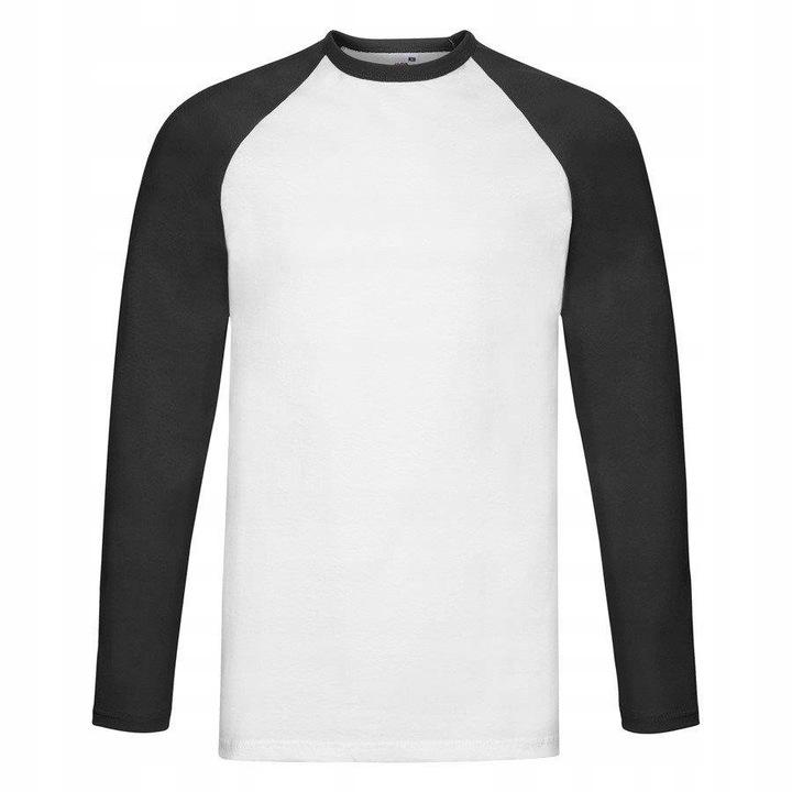 MĘSKA koszulka dł.rękaw BASEBALL biały/czarny L 9614268794 Odzież Męska Koszulki z długim rękawem MS RWFMMS-9