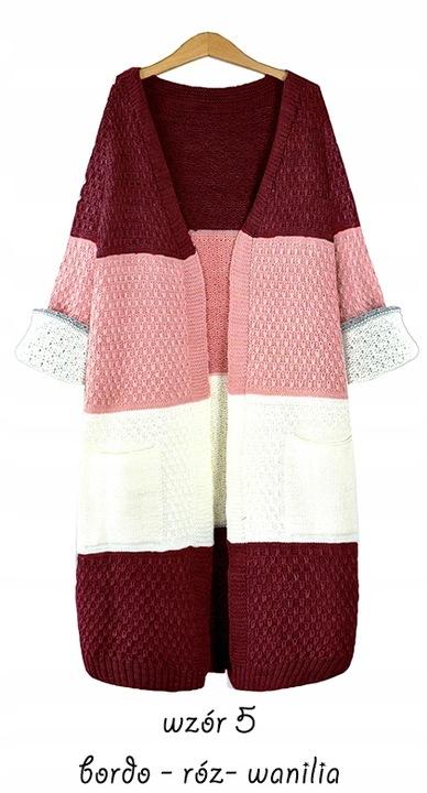 Efektowny mięciutki kobiecy KARDIGAN SWETER pasy 9701569546 Odzież Damska Swetry VB GLFWVB-5
