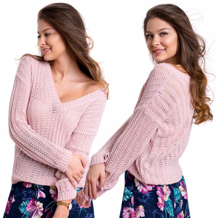 LARIS WIOSENNY AŻUROWY SWETEREK GŁĘBOKI DEKOLT V 9112943248 Odzież Damska Swetry ZZ ARWDZZ-5