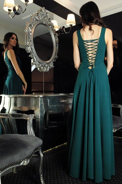 MON 387 prosta sukienka maxi 42 9363014370 Odzież Damska Sukienki wieczorowe SS DUEKSS-8