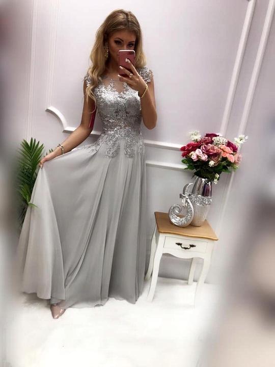 Diva PUDROWA DŁUGA SUKIENKA z GIPIURĄ ślub M 9398583100 Odzież Damska Sukienki wieczorowe ZT KEPAZT-4
