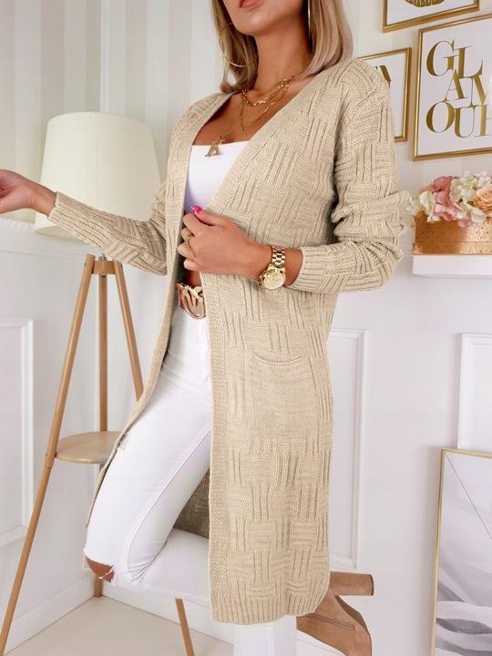 Efektowny KOBIECY KARDIGAN Mięciutki Sweter KOLORY 9672021386 Odzież Damska Swetry PY SQYAPY-4