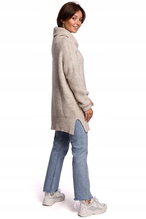 długi SWETER OVERSIZE z GOLFEM gruba PRZĘDZA 9748830882 Odzież Damska Swetry PT FXKBPT-6