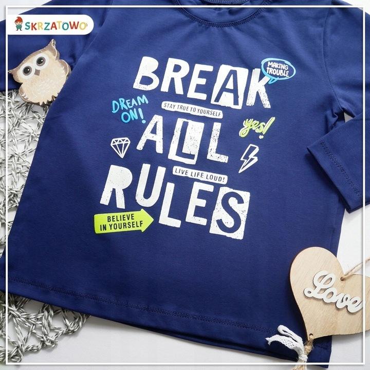 """Bluzeczka """"Break all rules"""" 134 9754907091 Dziecięce Odzież XT VJVAXT-7"""
