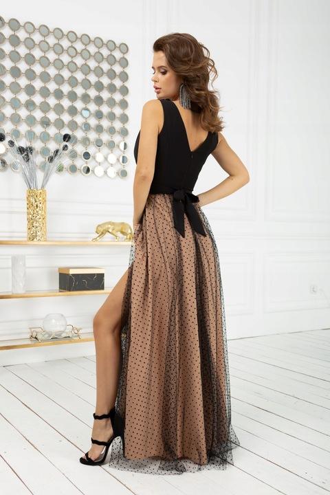 BIC 2218 długa sukienka w groszki 42 WESELE 9769555533 Odzież Damska Sukienki wieczorowe XZ KBJBXZ-8