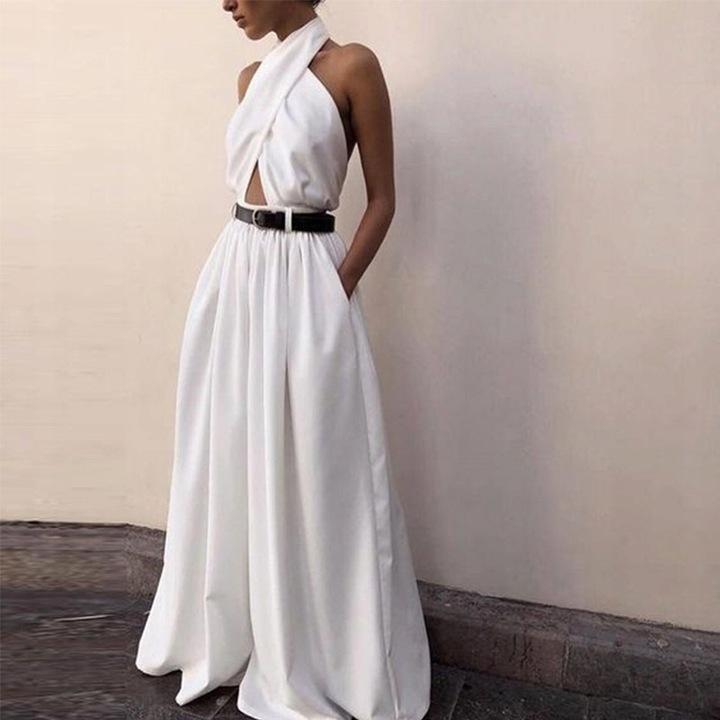 Elegancka Spodnie Spodnie Dresowe Jumpsuit 9646458901 Odzież Damska Sukienki wieczorowe EP IOGMEP-2