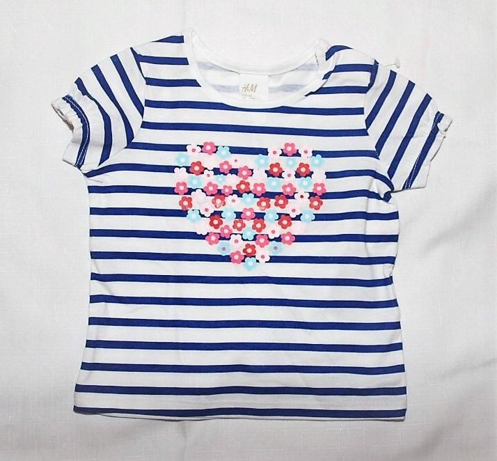 H&M bluzka biała kr paski serce z kwiatÓw 68 9932263482 Dziecięce Odzież PX WFOZPX-1